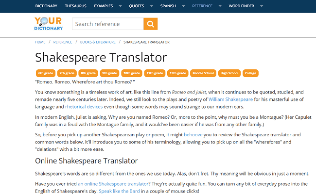 free online Shakespeare translator
