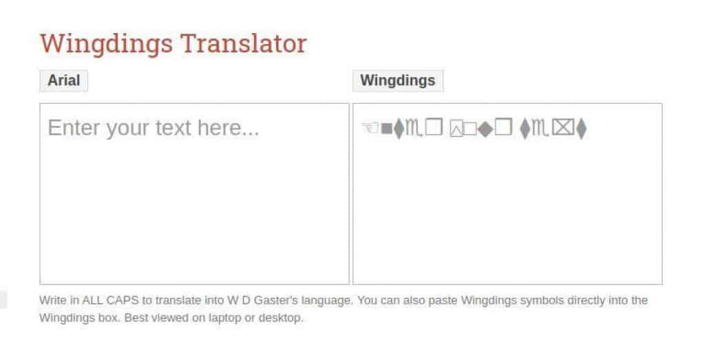 Wingding Translator gaster