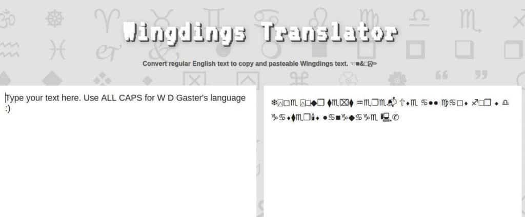 Wingdings Translator lingojam