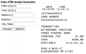 Fake Bank Deposit Receipt Generator